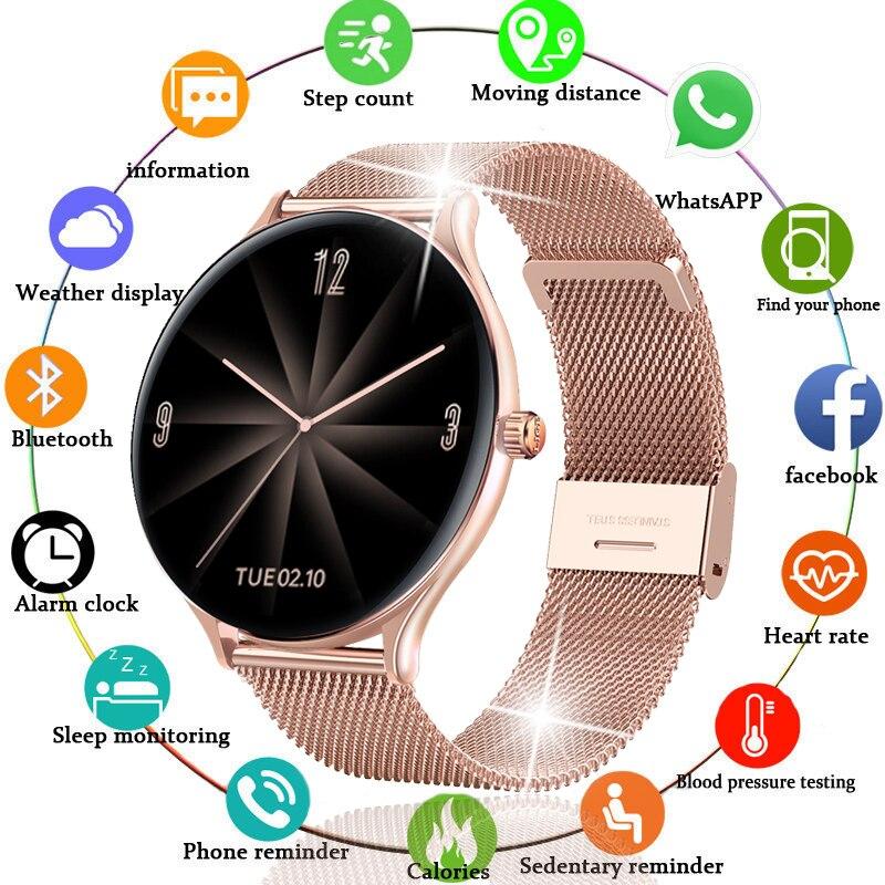 2021 New Full circle touch screen Women smart watch Luxury steel Watch Band Fashion smartwatch Sport Activity tracker For Xiaomi