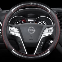 car carbon fiber leather steering wheel covers interior accessories 38cm for opel antara astra gtc zafira insignia car styling