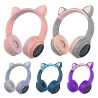 hot sale led cat ear noise cancelling headphones bluetooth compatible 5 0 kids young people headset 3 5mm plug non microphone