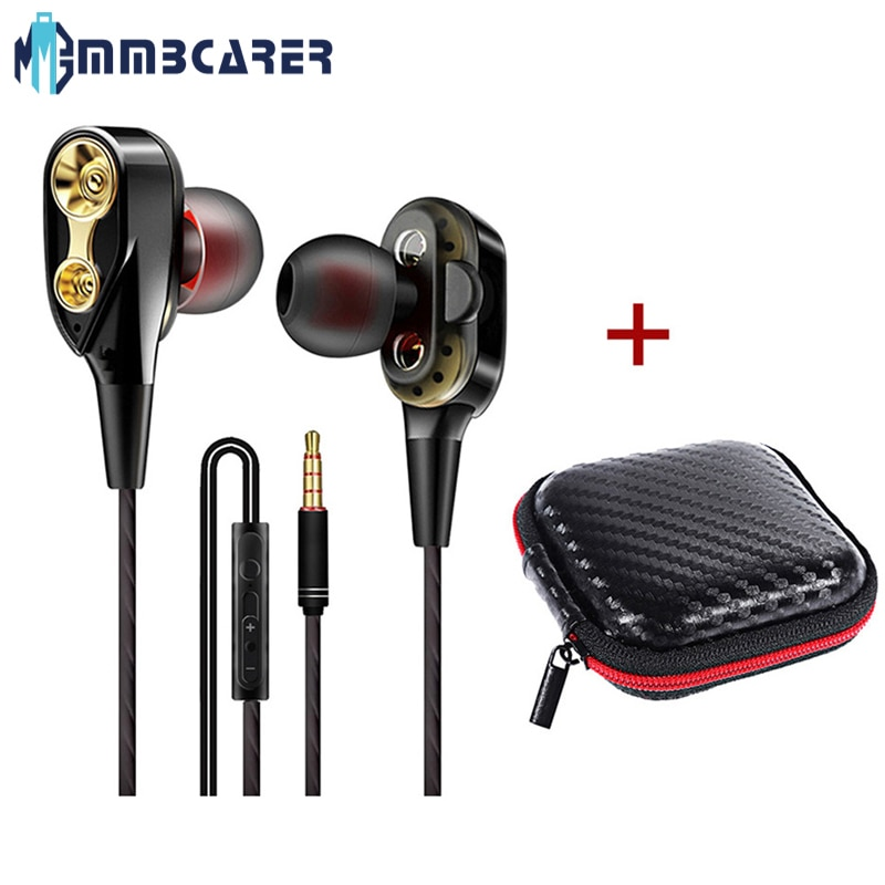 Wired Headphones High Bass Headsets Sports Earphones Dual Drive Stereo In-Ear Earphone With Microphone Earbuds For phone