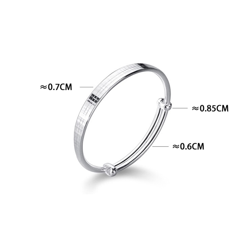 MIQIAO Sterling 999 Pure Silver Bangles Argent Female Simple Adjustable Ladies Bracelet On Hand Temperament Fashion Jewelry Gift