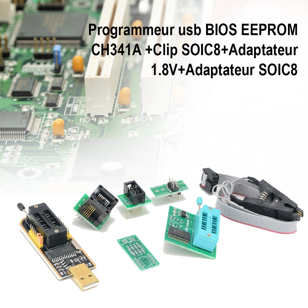 USB BIOS EEPROM CH341A programmer + SOIC8 clip + 1.8V adapter + SOIC8 adapter for DVD set-top boxes