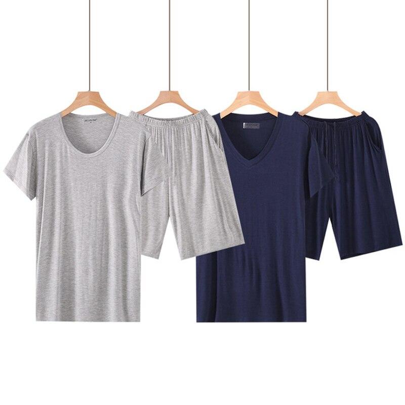 Мужские летние Пижамные комплекты размера плюс 6XL, Мужские пижамные комплекты, однотонные пижамные комплекты для мужчин, домашняя одежда