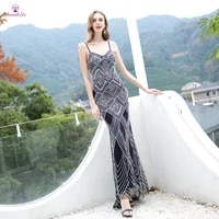 new arrival sparkly black evening dress 2020 full pearl beaded with crystal spaghetti strap long evening dress formal gown