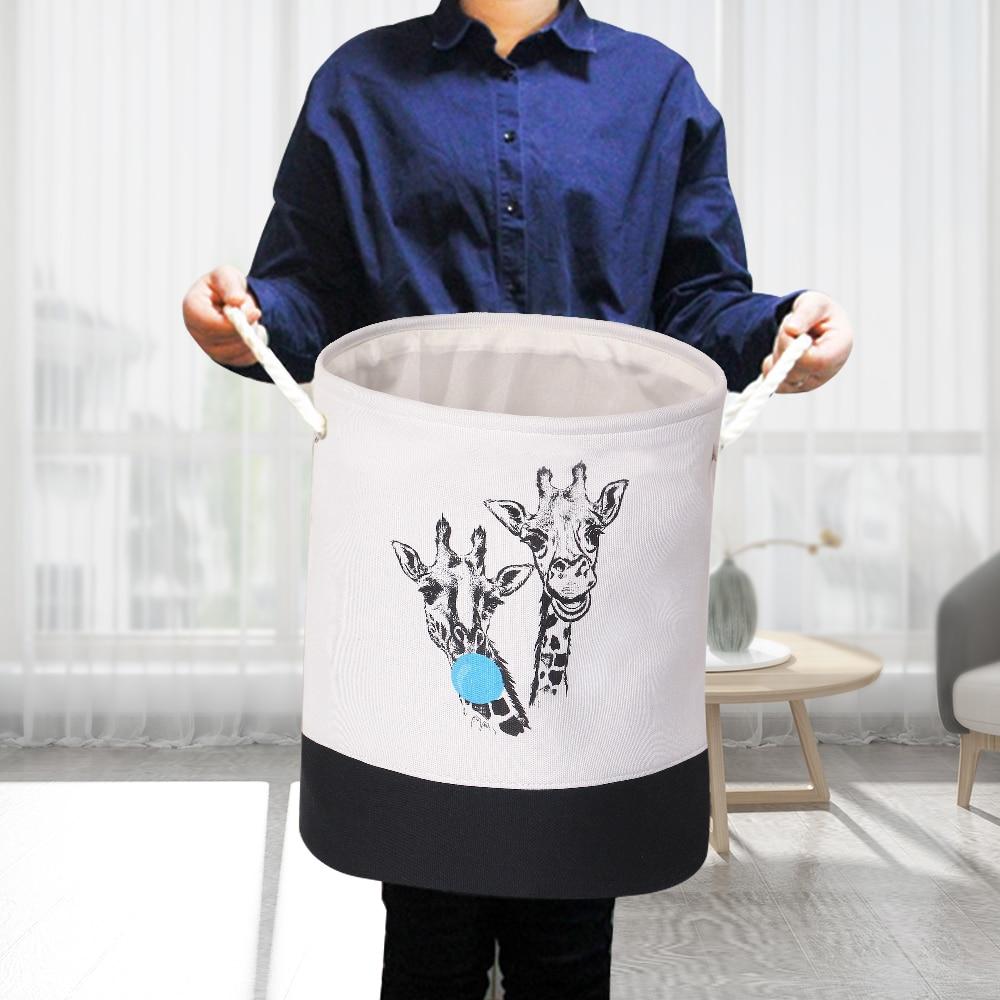 1 Pza EVA tela de lona cesta plegable redonda para la ropa sucia organizador de ropa juguetes caja de almacenamiento cubo cesta con asas