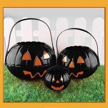 Behogar 1x Portable Halloween truc ou traiter citrouille seau sac pour enfants enfants bonbons fête faveurs décoration fournitures 916