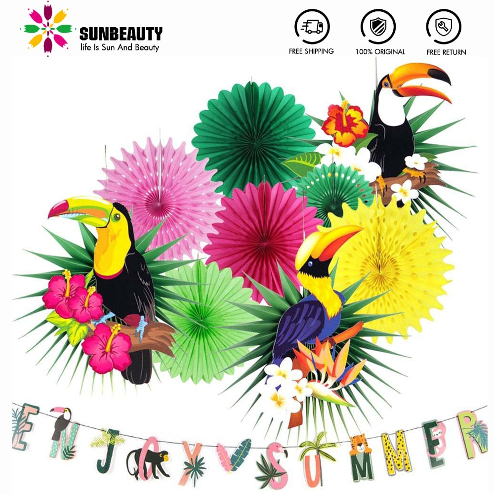 Hawaiian Party Decoration Hanging Enjoy Summer Banner Balloons Pom Toucan Paper Fans for Summer Tropical Birthday Party Supplies