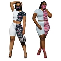 heart letter printing patchwork two piece set short sleeve crop top and shorts sets for women summer 2021 sexy casual sweat suit