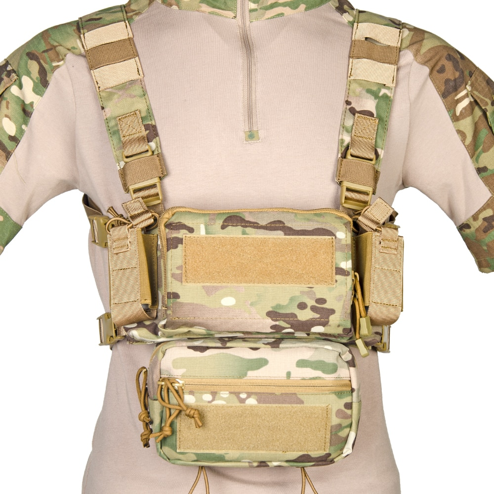 Training Mini D3 Tactical Chest Rig CRM H Harness Vest With SACK Pouch M4 Mag Insert Flatback Integratable Paintball Accessories