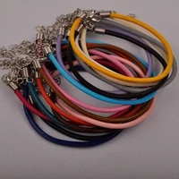 100pcs adjustable 3mm round leather cord bracelet fashion bracelets leather rope string for jewelry making supplies