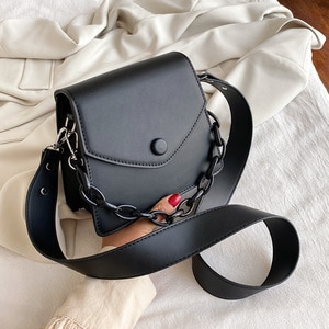 Crossbody Bag for Women Leather Shoulder Bag Sac A Main Chain Small Shoulder Bags Female Vintage Flap Messenger Bags Solid Color