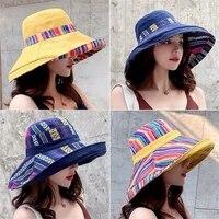 fashion sun summer casual fisherman cap beach women double sided cap boho bucket hat