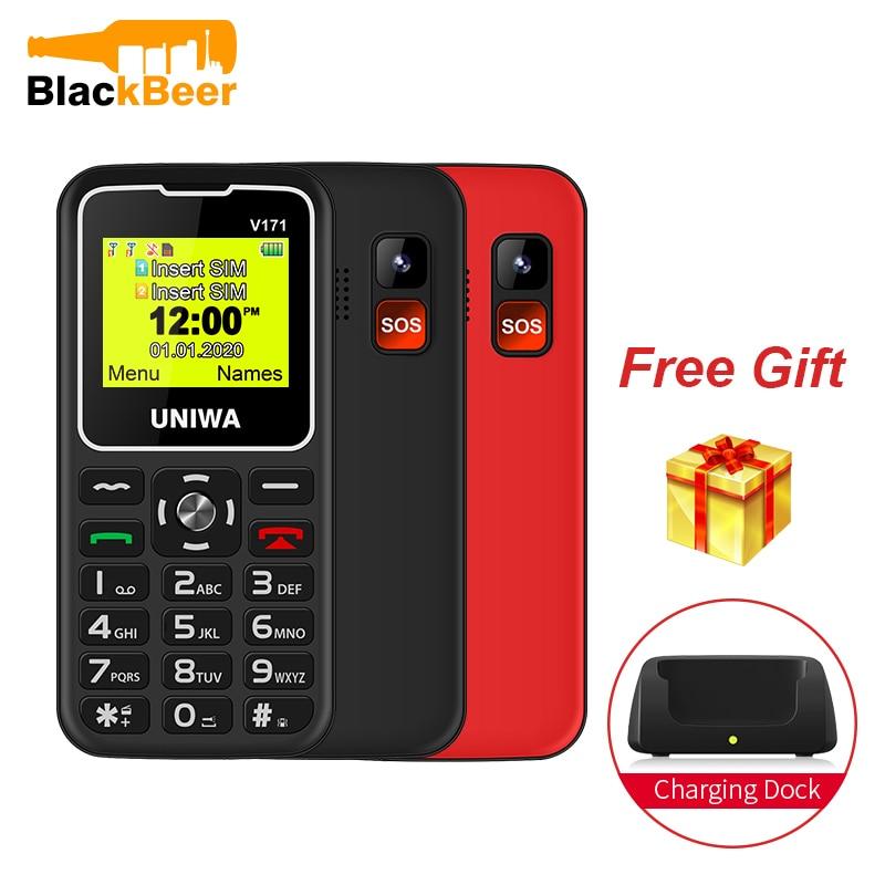 """UNIWA V171 1,77 """"2G GMS característica teléfono inalámbrico FM Senior MobilePhone 1000mAh para personas mayores teléfono móvil carga gratis muelle SOS"""