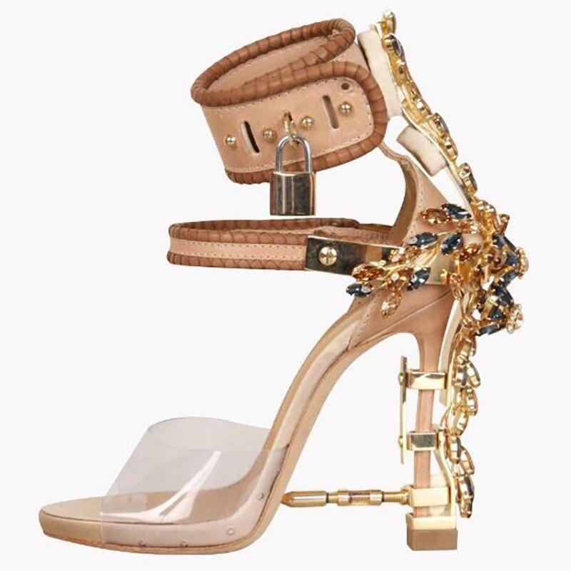 Sandalias de cristal para Mujer Transparente PVC Metal cerradura decoración albaricoque punta abierta verano señoras hebilla en el tobillo para zapatos por encargo zapato de pista