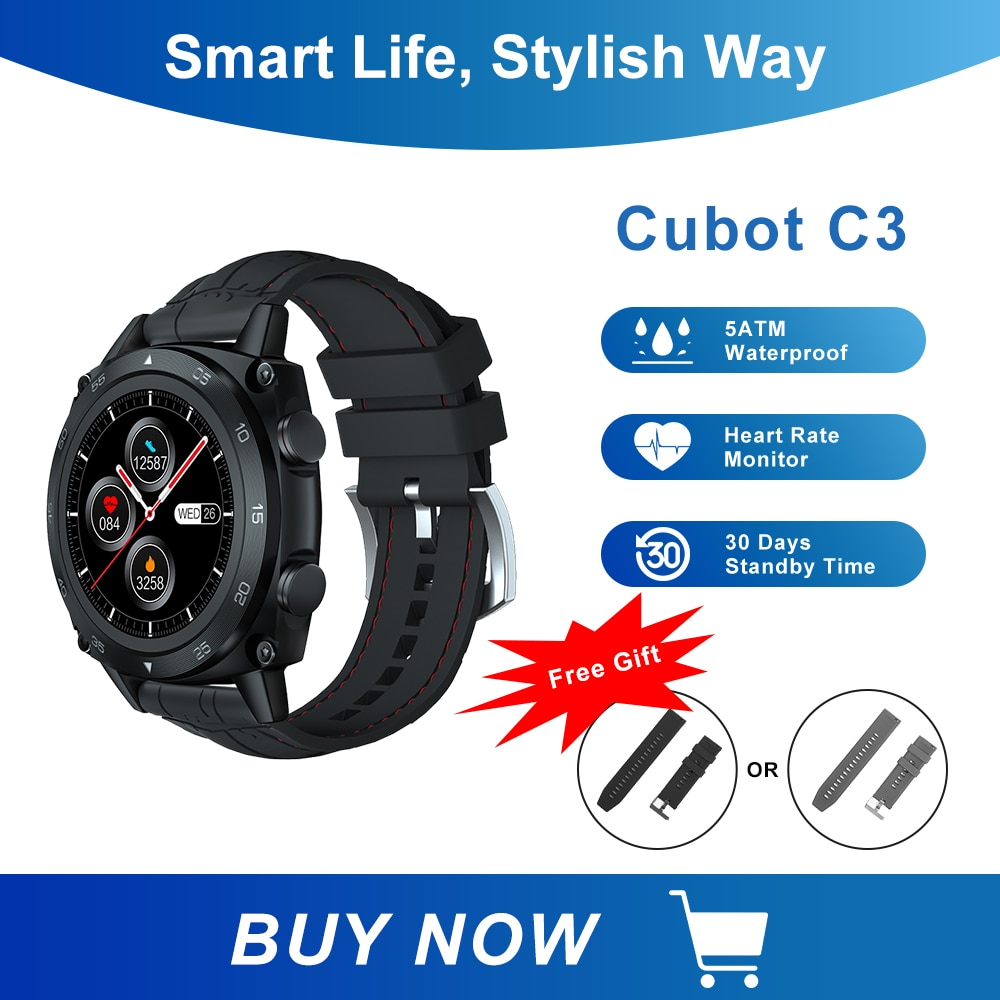 Promo Cubot C3 SmartWatch Sport Heart Rate Sleep Monitor 5ATM Waterproof Touch Fitness Tracker Smart Watch for Men Women Android IOS