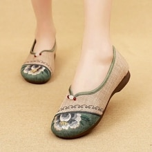 Ethnic Style Woman Vulcanized  Shoes Handmade  Flower Vulcanize  Shoes Women Embroider Flat Shoes 20