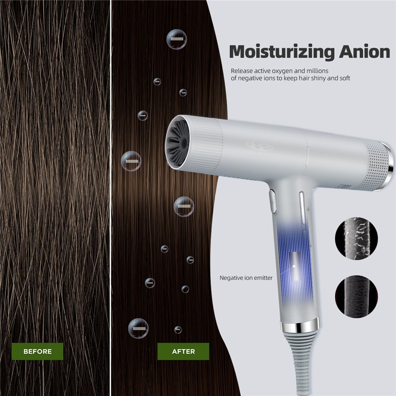 CkeyiN Ionic Hair Dryer Professional Salon Negative Ions Hair Blow Dryer Low Noise Lightweight Hot Cold Hairdryer With Memory 50 enlarge