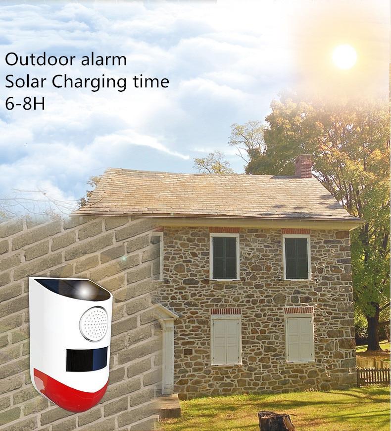 Newest Independent Solar Sound Light Alarm Motion Sensor Outdoor Waterproof Security Alarm Detector 120dB Siren 4 LED Flash Warn