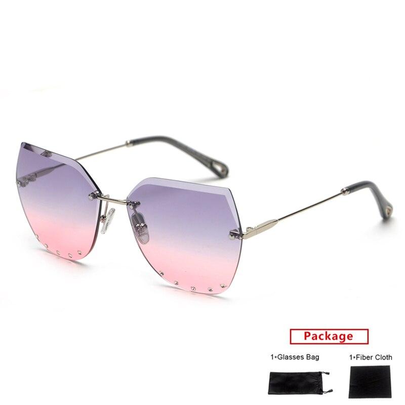 mimiyou Rimless Cat Eye Women Sunglasses Diamonds Border Sun Glasses Men Vintage Fashion Female Eyeglasses Lady Shades oculos
