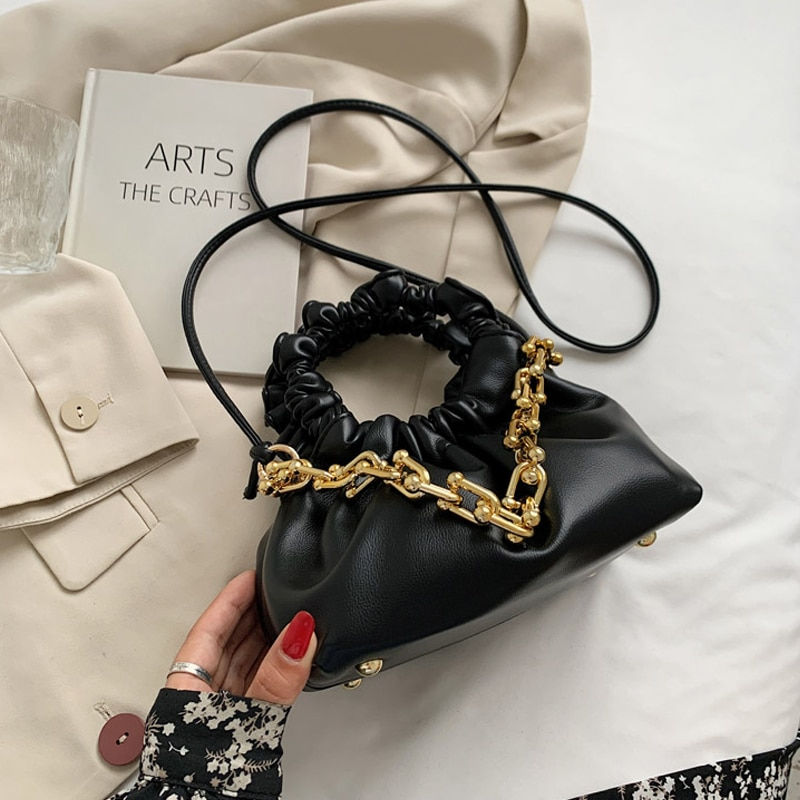 Brands Thick Chains Pu Leather Crossbody Shoulder Bags Designer Solid Color Handbags Luxury Fashion