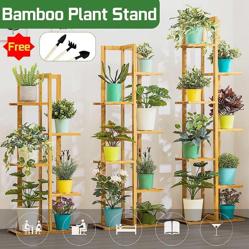 Plant Shelves Bamboo Potted Plant Stand Rack Multiple Flower Pot Holder Shelf Indoor Outdoor Planter Display Shelf Organizer