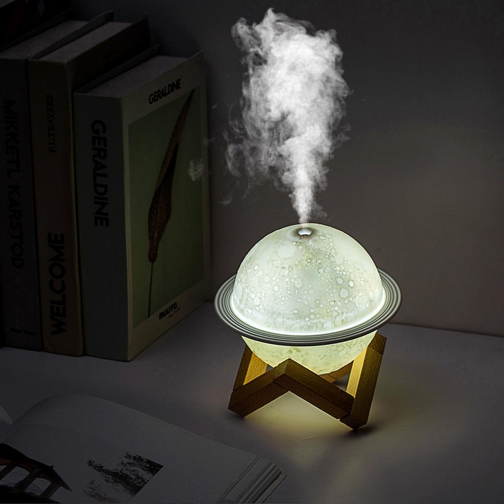 Mini USB Humidifier Air Purifier Humidifier For Bedroom Saturn Humidifier With Wooden Base 3 Color Night Light Aroma Diffuser
