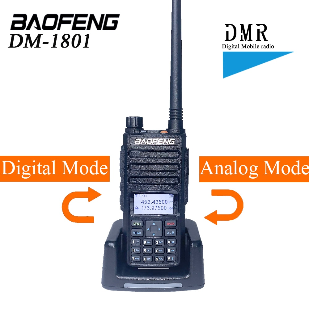 Baofeng DMR DM-1801 Walkie Talkie VHF UHF 136-174 e 400-470MHz Dual Band Dual Time slot di Livello 1 e 2 Radio Digitale DM1801