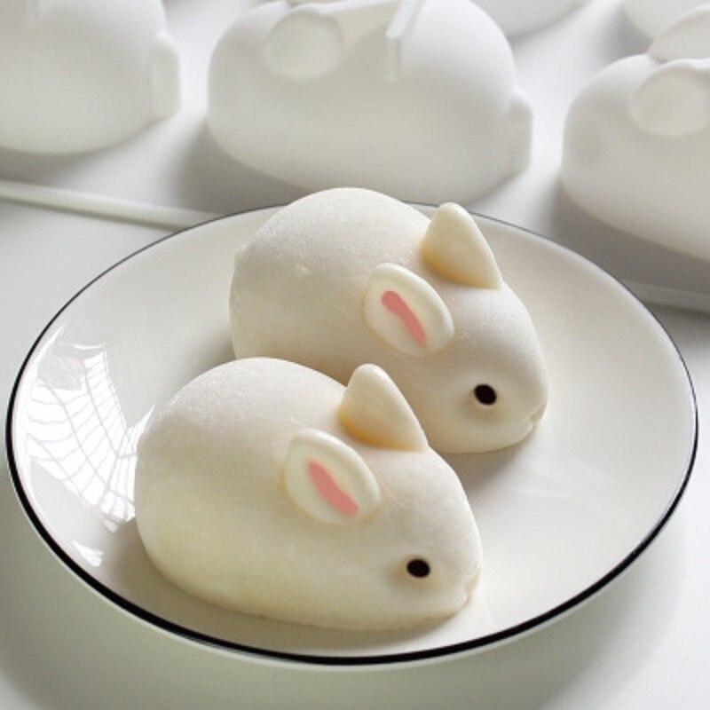 3D Cartoon 2/6 Löcher Kaninchen Mousse Kuchen Form Pudding Gelee Form Kreative Dessert Silikon Form Seife Form Schokolade