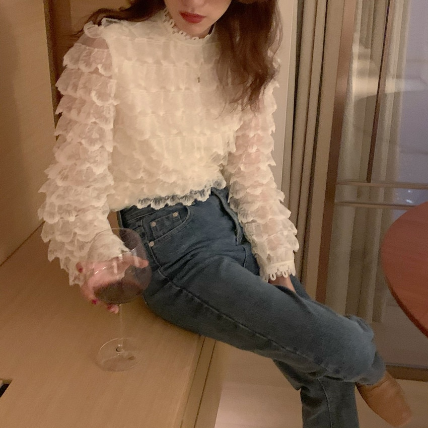 H0de7a8646c4f41c88f05fec156fa988cJ - Spring / Autumn O-Neck Long Sleeves Hook Flowers Hollow Out Ruffles Blouse