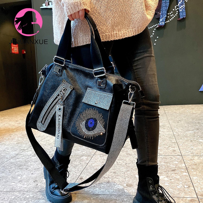 الأزياء برشام الماس رصع المرأة حقيبة يد الاتجاه الجديد الراقية النمط الغربي البرية سعة كبيرة واحدة الكتف رسول حقيبة