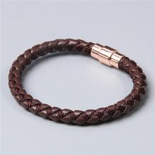 Dames hommes Simple marron cuir corde tissé Bracelet amis famille Bracelet cadeau or rose neutre décoratif bijoux bracelets