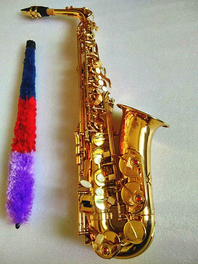 Saxofón Alto de la nueva marca, venta al por mayor, saxofón Alto Eb dorado, Saxofón plano, Saxofón profesional, boquilla y funda