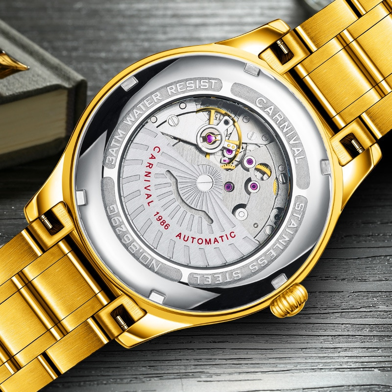 CARNIVAL Brand Gold Automatic Watch Men Women Couple Lover's Fashion Luxury Luminous Mechanical Wristwatches Reloj Hombre Mujer enlarge