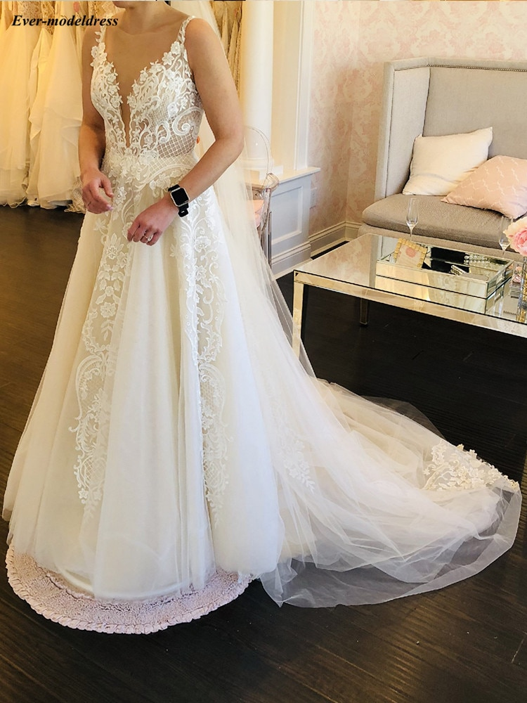 2020 elegant a line wedding dresses illusion v neck appliques sweep train bridal gowns with beaded sash custom made V Neck Appliques Wedding Dresses Open Back Sleeveless A line Sweep Train Tulle Wedding Gowns Bridal Dress vestidos de novia 2020