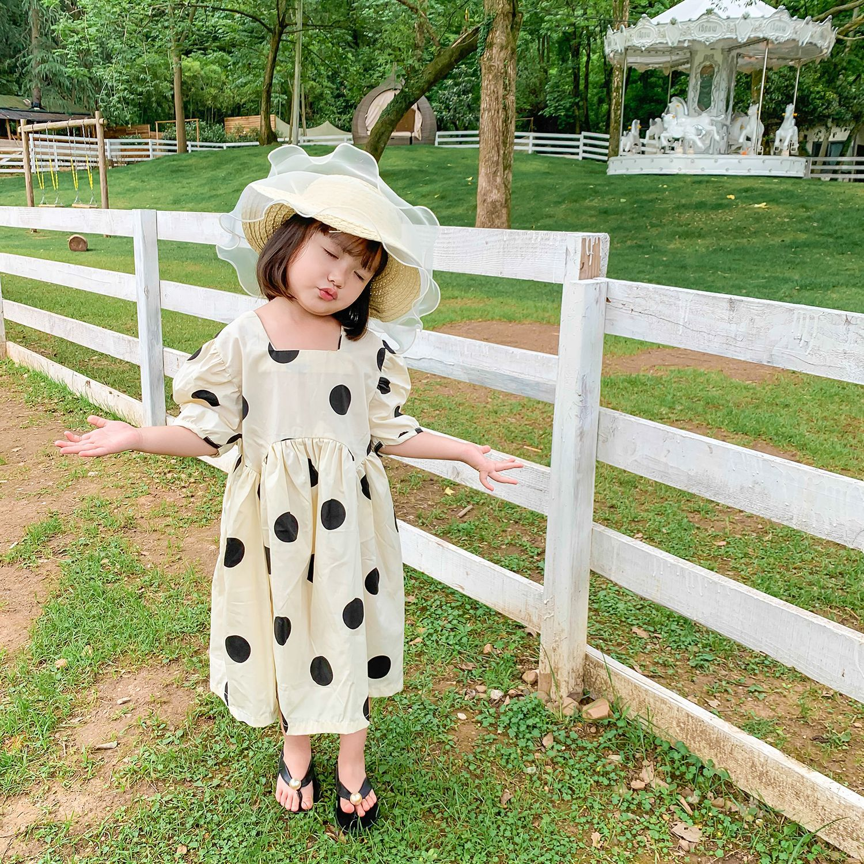 Niños verano Puff manga de algodón princesa vestido niñas bebé Big Dot Vestido de manga corta 2020 niños Palacio viento Cauasl vestido