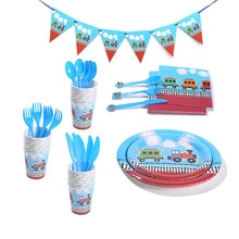 Train Railway Theme Party Decoration Disposable Tableware Paper Cup Plate Napkin Banner Baby Shower