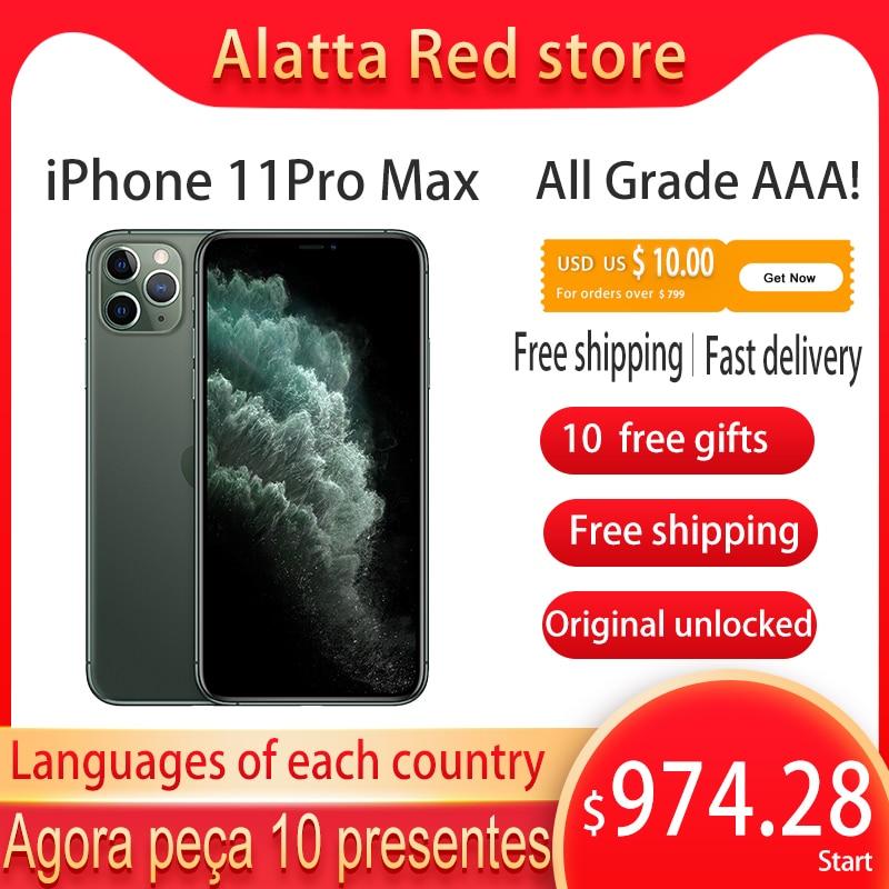 Оригинальный разблокированный Apple iPhone 11 Pro Max, бывший в употреблении, 6,5 дюйма, распознавание лица, NFC, 64 ГБ/256 ГБ, 11 смартфон promax A13 Hexa-core