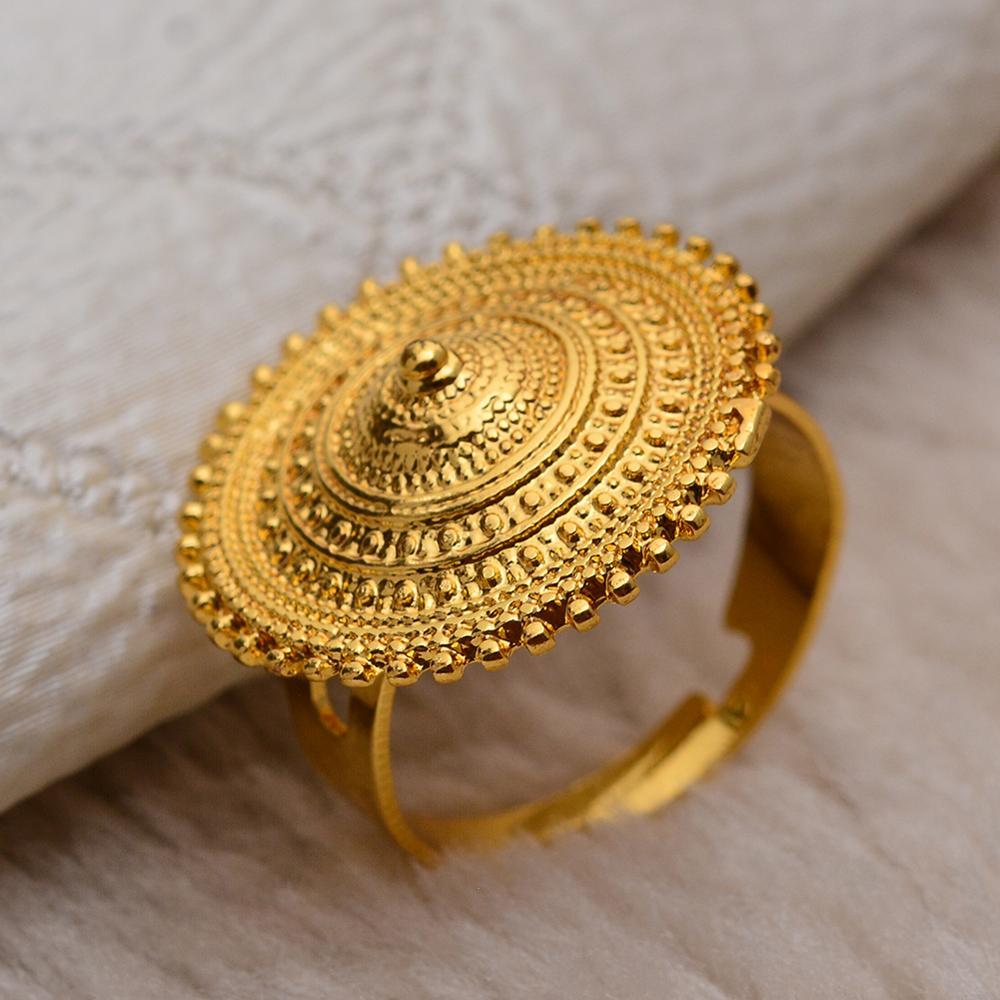 Wando etíope anillo de oro Color ronda de moneda anillos para las Mujeres de Eritrea moda anillo de boda árabe de Medio Oriente de la joyería