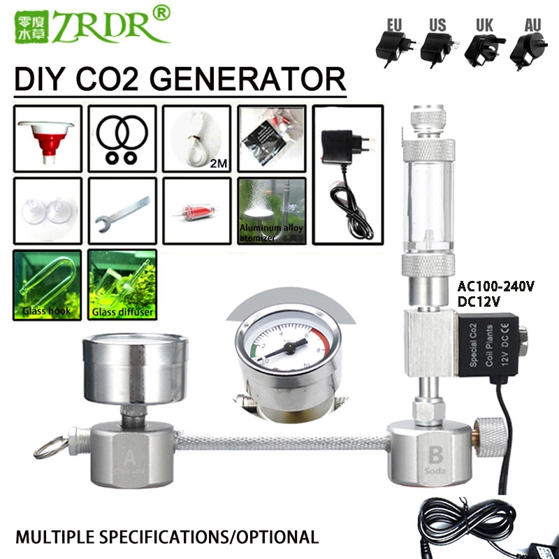 pro good product stage light co2 jet machine solenoid valve with brass for co2 club cannon machine ac100v 220v ZRDR Aquarium DIY CO2 generator system kit CO2 generator, bubble counter diffuser with solenoid valve,For / Aquatic plant growth