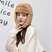 Women's Winter Faux Fur Bomber Hats Keep Warm Windstop Thick Bomber Caps Female Outdoor Winter Warm