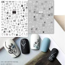 Date Hanyi 442 443 conception abstraite 3d autocollant à ongles colle arrière décalcomanies à ongles japon type bricolage outils de décoration pour la conception des ongles