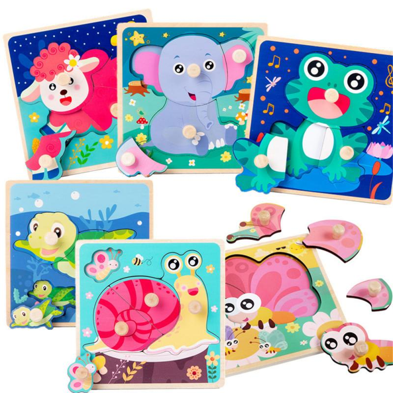 3D Wooden Peg Hand Grasping Board Puzzle Children's Educational Cartoon Animal Matching Puzzle Montessori Puzzle Kids Toys/