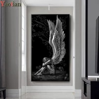 diamond painting angels skeleton picture full squareround 5d diy rhinestone embroidery abstract gothic girl cross stitch mosaic