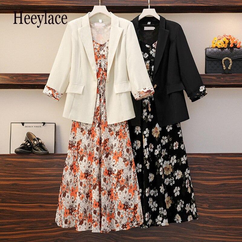 حجم كبير مكتب السيدات أنيقة قطعتين مجموعة الكورية عادية أكمام طباعة سترة فساتين و طويلة الأكمام السترة معطف الدعاوى 5XL