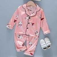 bear leader girl boy baby pajamas sets 2021 autumn fashion satin silk clothes kids cartoon sleepwear childrens fall homewear