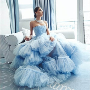 Elegant Light Blue Evening Formal Dresses Sheer Tulle Layered Strapless A-line Long Party Night Gowns vestidos formales2020