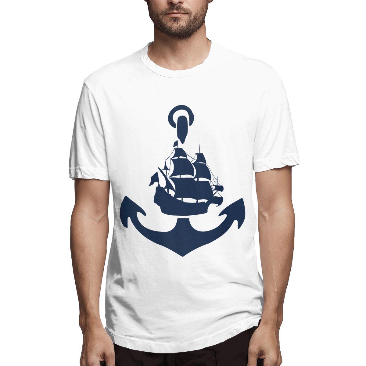 Camiseta de algodón 100% de alta calidad, camiseta casual con estampado de ancla de Barco Pirata para hombres, ropa de marca Harajuku, camisetas divertidas