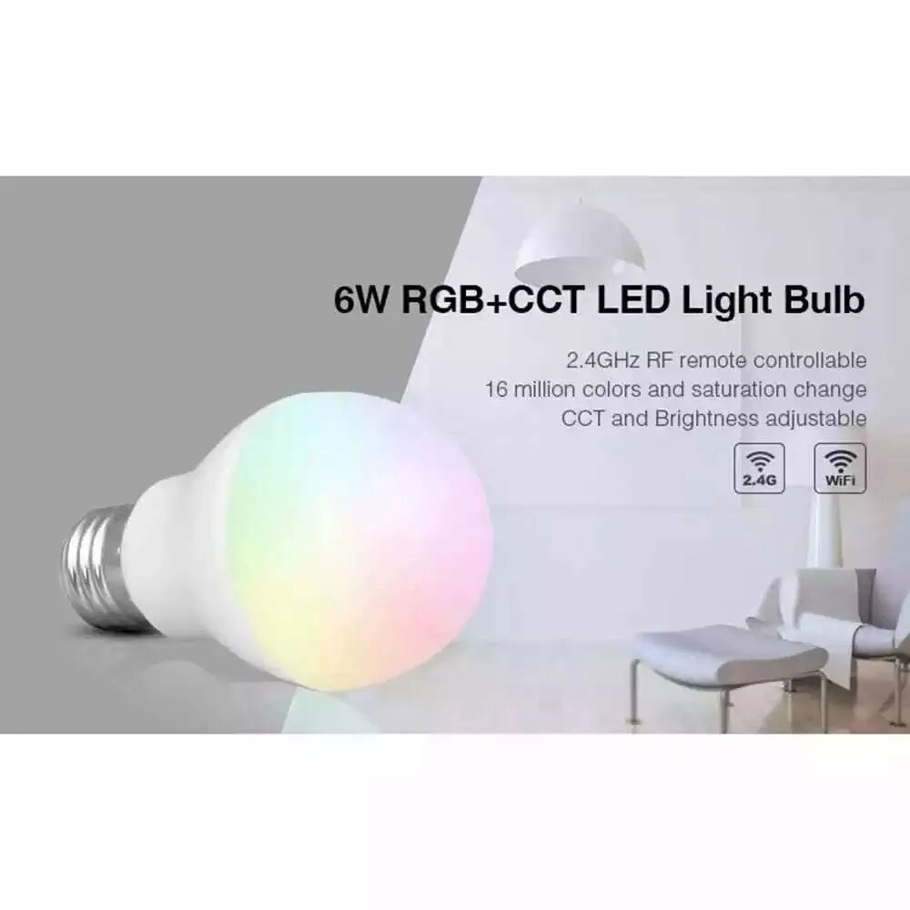 Miboxer FUT014 6W RGB CCT 2,4 GHz RF bombilla AC100 ~ 240V 50/60Hz tipo de Base E26 / E27 / B22 luz LED