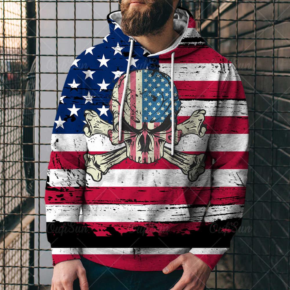 Толстовка мужская с капюшоном и флагом США, кофта унисекс с национальным флагом, День независимости США, 4XL