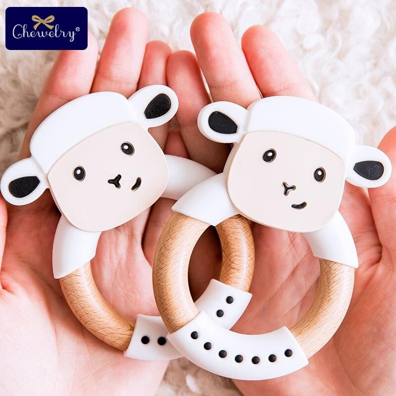 CHELWRY 5PC mordedor de bebé anillo de madera de haya de silicona de calidad alimentaria mordedor de oveja bebé sonajero pulsera de enfermería juguete para niños los productos de